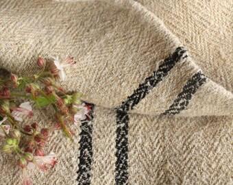PB 232: grain sack,  antique linen;rarest BLACK ;  pillow benchcushion;  wedding decoration; yachting pillow, thanksgiving; gift bag