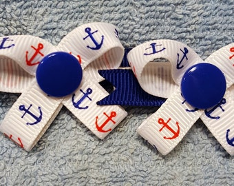 Anchors Away -  Snap N Go Dog Hair Bows - Set of 2 or Custom Single