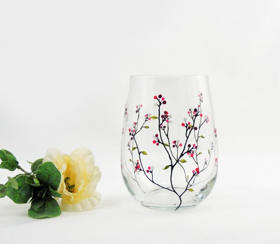 Hand painted stemless wine glass louisa collection with for Painted stemless wine glasses