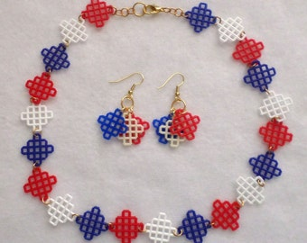 Plastic Canvas Necklace and Earring Set - Red, White, Blue