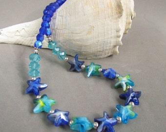Starfish Beaded Necklace, Handmade by Harleypaws, Blue, Aqua, Green, Seascape Jewelry, SRAJD