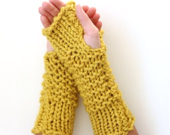 Wool Thick-Knit Fingerless Mittens in Citron - Ready to Ship