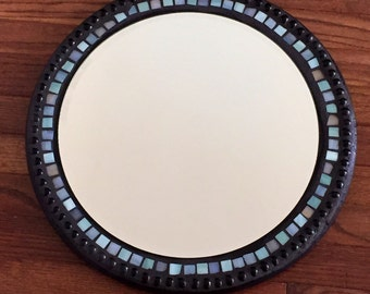 Blue Circle Stained Glass Mosaic Mirror