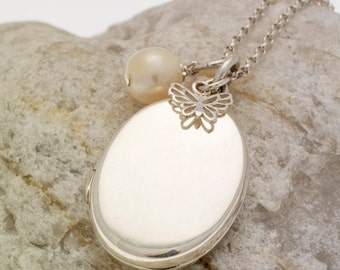 Silver Oval Locket with Butterfly Charm