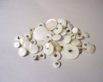 40 Vintage, White,  Mother of Pearl, Shank Buttons, Lot  2707 (Free US Shipping)