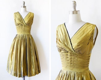 50s gold dress, vintage 1950s party dress, shimmery shantung silk dress, extra small xs