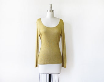 metallic gold shirt, vintage 80s gold lurex top, small sparkly gold top