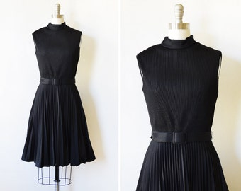 60s black dress, vintage 1960s mod dress,  small black pleated dress