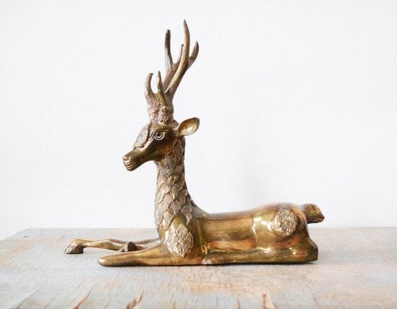 large brass deer, vintage brass deer figurine, mid century decor, deer laying down sculpture