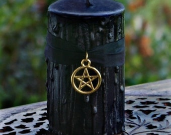 WITCHING HOUR Drippy Black Pillar Candle w/ Golden Pentacle on Silk Ribbon, Dragons Blood Sandalwood, Amber Patchouli More - Choose Size