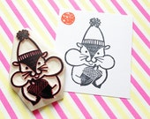 hungry squirrel stamp. chipmunk hand carved rubber stamp. woodland animal stamp. autumn holiday crafts. birthday scrapbooking. large