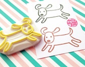 puppy dog hand carved rubber stamp. retriever pup stamp. pet animal stamp. dog lovers birthday scrapbooking. diy dog themed party props