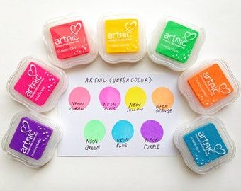 versacolor neon ink pad. tsukineko stamp ink pad. water based pigment archival inks on uncoated paper. great for embossing. choose color