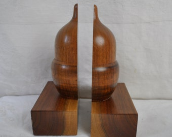 Vintage Wood Acorn Bookends