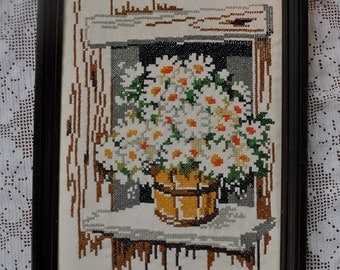 Vintage Cross Stitch Daisy Picture/Vintage c. 1970s/Counted Cross Stitch Rustic Cabin Window View