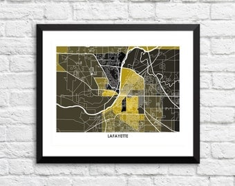 Lafayette Map Print.  Choose the Colors and Size.  Perfect for your Purdue University Boilermaker. Indiana Gallery Wall Art.