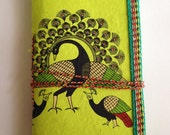 Dancing Peacocks, Indian Art Journal, Bright Green, Symbol of Immortality, Everyday Task Log, To do List Diary, Recycled Paper, Blank Book