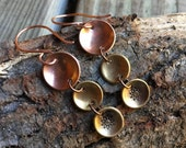 Vintage triple dot dangle earrings handmade