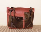 """leather tote – handmade chestnut brown bag - ooak genuine leather purse - leather bag with pockets - italian quality leather """"FABRIZIA"""""""