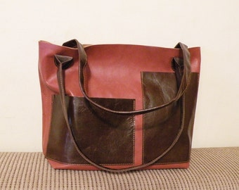"leather tote – handmade chestnut brown bag - genuine leather purse - leather bag with pockets - italian quality leather ""FABRIZIA"""
