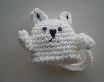 Crochet White Cat Pocket Pal