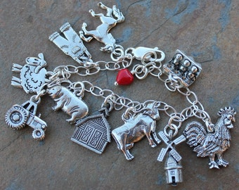 Farm Charm Bracelet - pewter farmyard charms, sterling silver chain - barn, pig, tractor, cow, horse, chicken, sheep & more - free ship USA