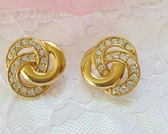 Bold Vintage Classic Signed Napier Goldtone Rhinestone Knot Earrings