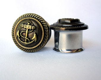 """One of a Kind - VINTAGE Pair of Antique Brass Nautical Anchor Button Plugs - Sailor Gauges - Beach - 9/16"""", 5/8"""", 3/4"""" (14mm, 16mm, 19mm)"""