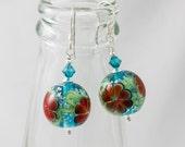 Red Glittery Flower Lampwork Earrings