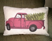 Christmas Pillow Cover, Holiday Throw Pillow, Cushion, Red Green Christmas Decor, Red Truck with Christmas Tree, 12 x 16 or 12 x 18