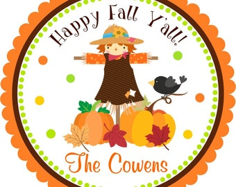 Scarecrow Stickers, Autumn Fall Scarecrow, Happy Fall Y'all stickers - Set of 12