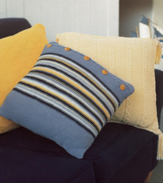 Knitted Cushion Cover Pattern Cable : Items similar to Cushion Covers Knitting Pattern / Cabled, Diamond and Stripe...