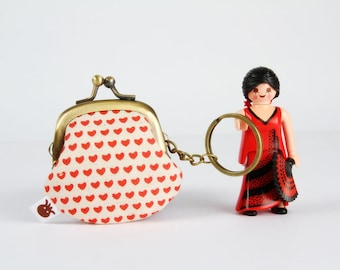 Keychain purse - Tiny hearts in red - Big Lillipurse / Metal frame coin purse / Japanese fabric / Love
