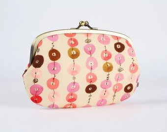 Metal frame purse with two sections - Jewel stripes in pink and brown - big siamese / Colorful dots / Caramel grey pink rose red / Geometric