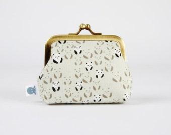 Metal frame change purse - Panda bebe in black - Deep mum / Japanese fabric / Cotton and Steel / Black and white