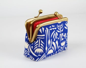 Metal frame purse with two sections - Botanica blue - Siamese dad / Japanese fabric / Ellen Luckett Baker / cobalt pink yellow