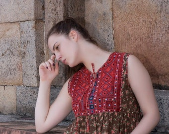 Red Kutch Embroidered Bodice Brown Floral Cotton Long length sleeveless Indian floral Style boho