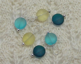 Knitting Stitch Markers - snag free - 12mm sun sky sea glass - yellow green teal beach glass beads - three loop sizes available