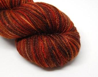 "Glam Rock Sparkle Sock Yarn - ""Fireside""-  Handpainted Superwash Merino - 438 Yards"