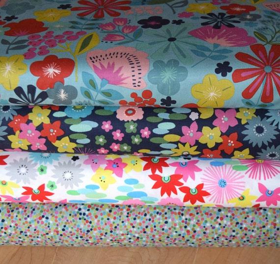 1/2 Yard each 4 Everyday Eden Cotton Fabrics from Alexander Henry Designs