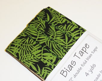 "Bias Tape - 4 yds - 1/2"" Double Fold - Black and Green Jungle Print"