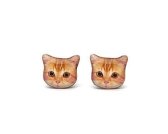 Cute Little Orange Cat Kitten Stud Earrings - A025ER-C26 Made To Order