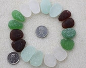 BEACHGLASS EARRING PAIRS Genuine Seaglass Nuggets Of Seafoam, Brown, White & Green   zy103(3)
