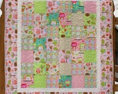 Baby Girl Quilt Pink Owls Hedgehogs