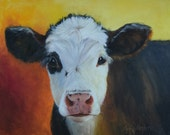 Animal Portrait Painting,Peanuts Cow Painting,Original Canvas Oil Painting by Cheri Wollenberg