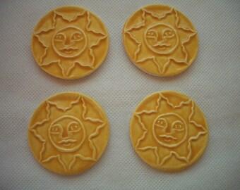 B4 - Stamped YELLOW SUNS - Ceramic Mosaic Tiles