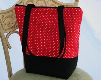 Red White Polka Dot Insulated Lunch Bag-Tote-Eco-Friendly and Washable-Water and Mildew Resistant Interior -Extra Large-Tall Size