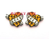 Heart Earrings Rock and Roll Tattoo style in Leopard Print by Dolly Cool Traditional Old School