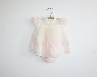 Vintage White and Pink Baby Dress