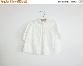 SALE // Vintage White Long Sleeve Baby Dress